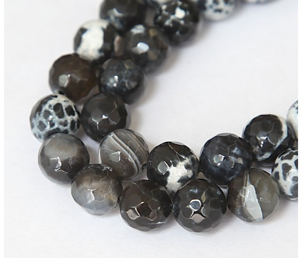 Fire Crackle Agate Beads, Black and White, 10mm Faceted Round