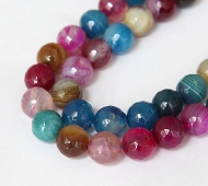 Agate Beads, Blue, Magenta and Brown, 10mm Faceted Round