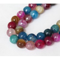 Striped Agate Beads, Multicolor, 10mm Faceted Round