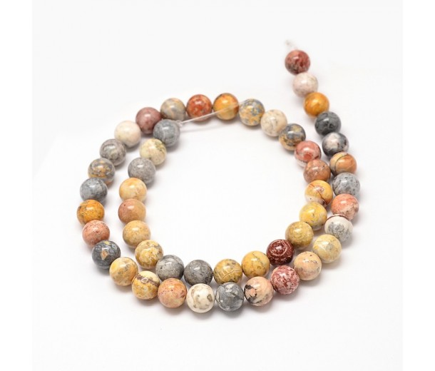 Crazy Lace Agate Beads, Natural, 6mm Round