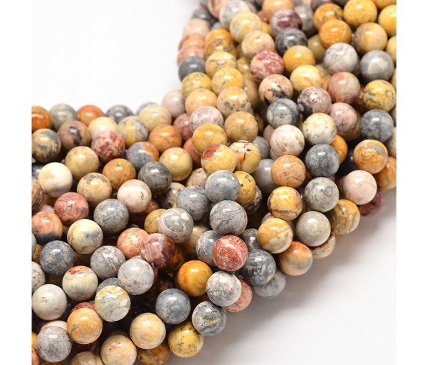 Crazy Lace Agate Beads, 10mm Round