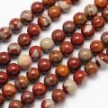 Red Picture Jasper Beads, 8mm Round, 15 Inch Strand