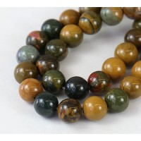 Ocean Jasper Beads, Yellow and Green, 10mm Round