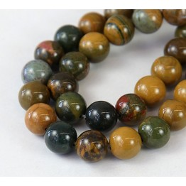 Ocean Jasper Beads, Yellow and Green, 8mm Round