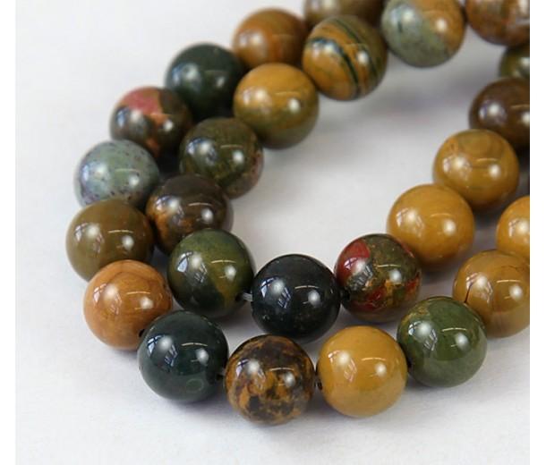Ocean Jasper Beads, Yellow and Green, 10mm Round