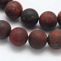 Matte Brecciated Jasper Beads, 10mm Round