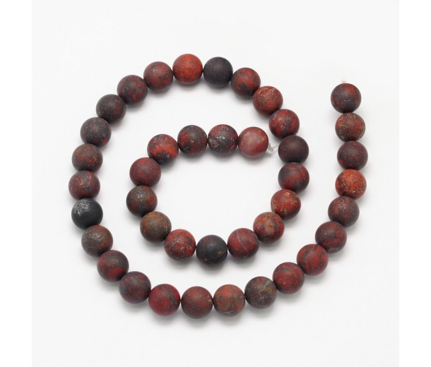 Matte Brecciated Jasper Beads, Natural, 12mm Round