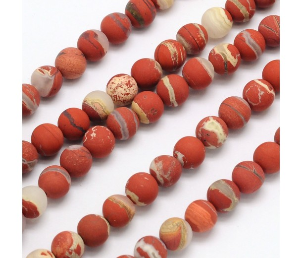 Matte White Lace Red Jasper Beads, 10mm Round