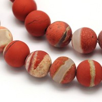 Matte White Lace Red Jasper Beads, 10mm Round