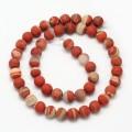 Matte White Lace Red Jasper Beads, 8mm Round