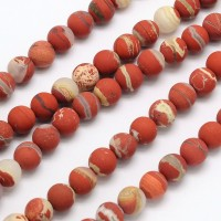 Matte White Lace Red Jasper Beads, 8mm Round