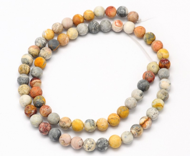 Matte Crazy Lace Agate Beads 12mm Round Golden Age Beads
