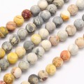 Matte Crazy Lace Agate Beads, 8mm Round