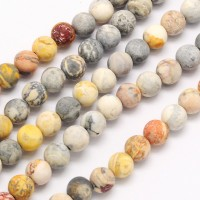 Matte Crazy Lace Agate Beads, 12mm Round
