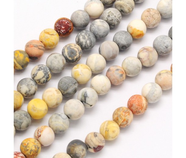 Matte Crazy Lace Agate Beads, Natural, 12mm Round