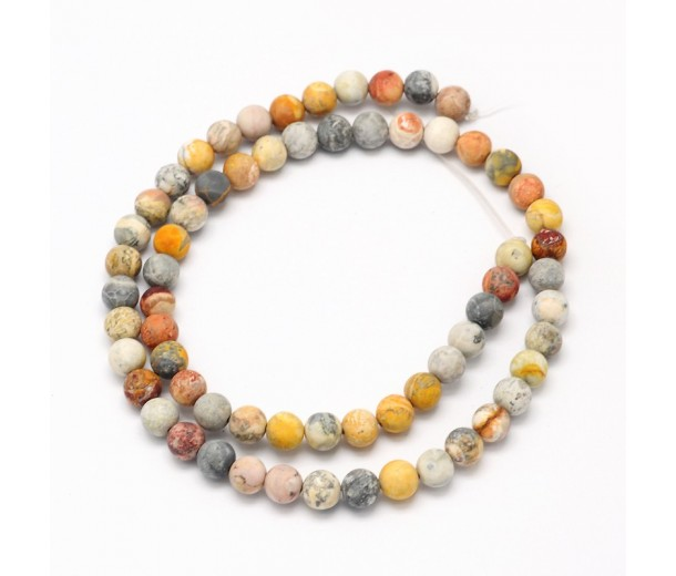 Matte Crazy Lace Agate Beads, 10mm Round