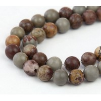 Artistic Jasper Beads, Grey and Brown, 6mm Round