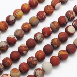 Matte Red Picture Jasper Beads, 8mm Round