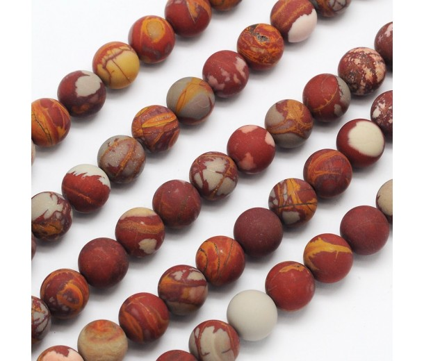 Matte Red Picture Jasper Beads, Natural, 8mm Round