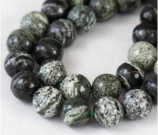 Green Zebra Jasper Beads, 10mm Round