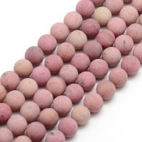 Matte Rhodonite Beads, 6mm Round