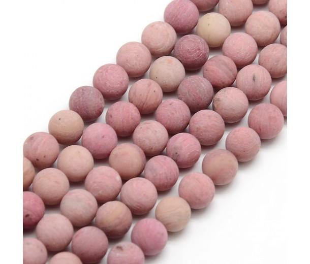 Matte Rhodonite Beads, 10mm Round