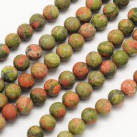 Matte Unakite Beads, 8mm Round