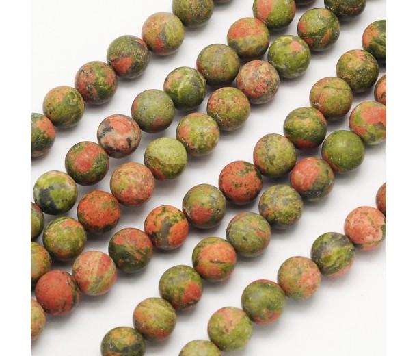 Matte Unakite Beads, 8mm Round