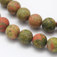 Matte Unakite Beads, 10mm Round