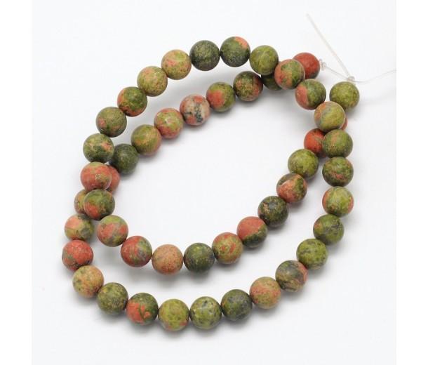 Matte Unakite Beads, 10mm Round