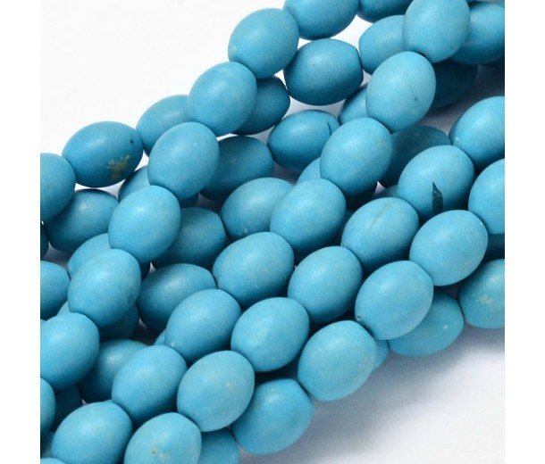 Imitation Turquoise Beads, Blue, 10x8mm Barrel
