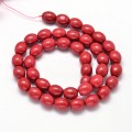 Howlite Beads, Red, 10x8mm Barrel, 15 inch strand