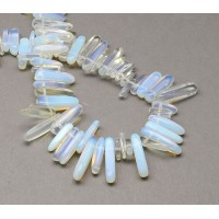 Sea Opal Glass Stick Beads, 13-22mm