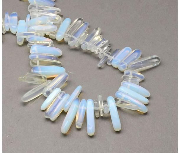 Sea Opal Glass Stick Beads, 13-22mm