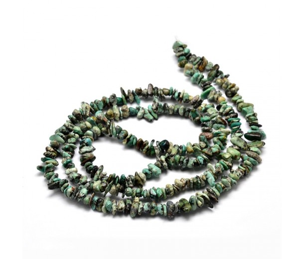 African Turquoise Beads, Natural, Teal, Small Chip