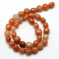 Red Aventurine Beads, Oval Nugget