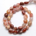 Striped Carnelian Agate Beads, Red, Oval Nugget