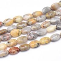 Crazy Agate Beads, 14x10mm Flat Oval
