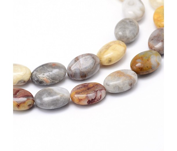 Crazy Agate Beads, Natural, 14x10mm Flat Oval