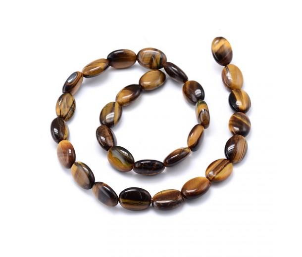 Tiger Eye Beads, 14x10mm Flat Oval