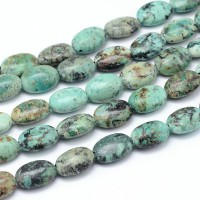 African Turquoise Beads, 14x10mm Flat Oval