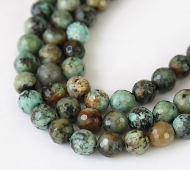African Turquoise Beads, 10mm Faceted Round