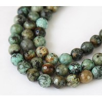 African Turquoise Beads, 8mm Faceted Round