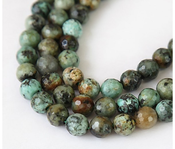 African Turquoise Beads, Natural, 8mm Faceted Round