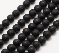 Black Agate Beads, Frosted, 8mm Faceted Round