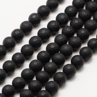 Black Agate Beads, Matte, 8mm Faceted Round