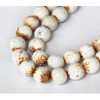 Ice Flower Agate Beads, White, 10mm Faceted Round