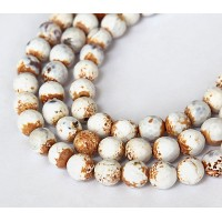 Ice Flower Agate Beads, White, 8mm Faceted Round