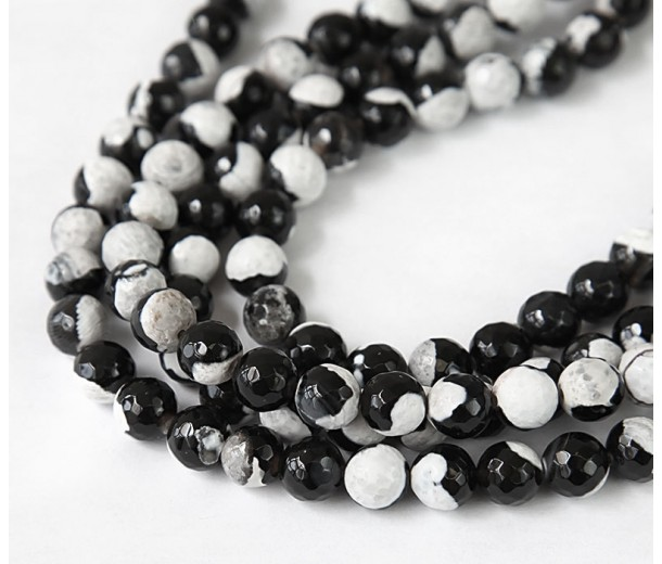 Agate Beads, Black and White, 10mm Faceted Round