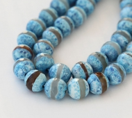 Fire Crackle Agate Beads, Blue Stripe, 10mm Faceted Round